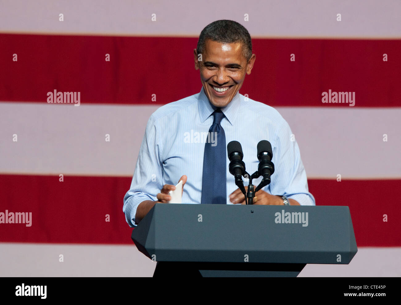July 17th, 2012: USA President Barack Obama, speaks to a crowd of supporters at the Austin Music Hall in Austin, - Stock Image