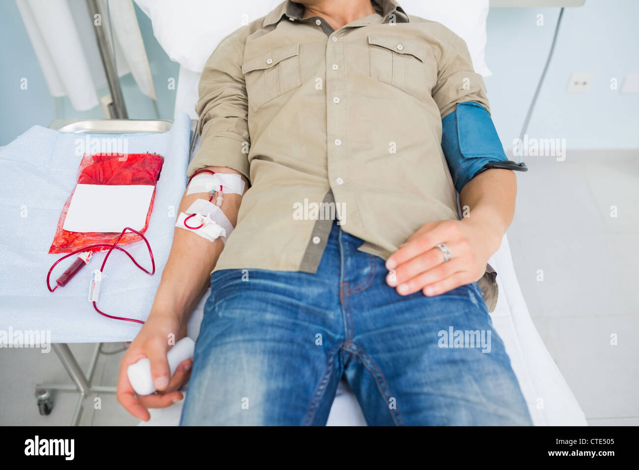 Male patient receiving a blood transfusion Stock Photo