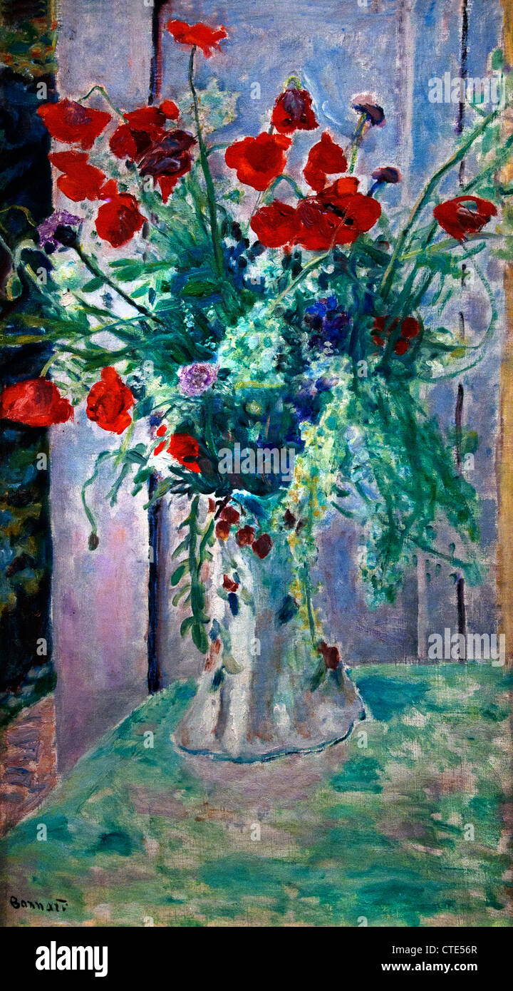 Poppies in a Vase 1926 Pierre Bonnard 1867 - 1947 France French - Stock Image