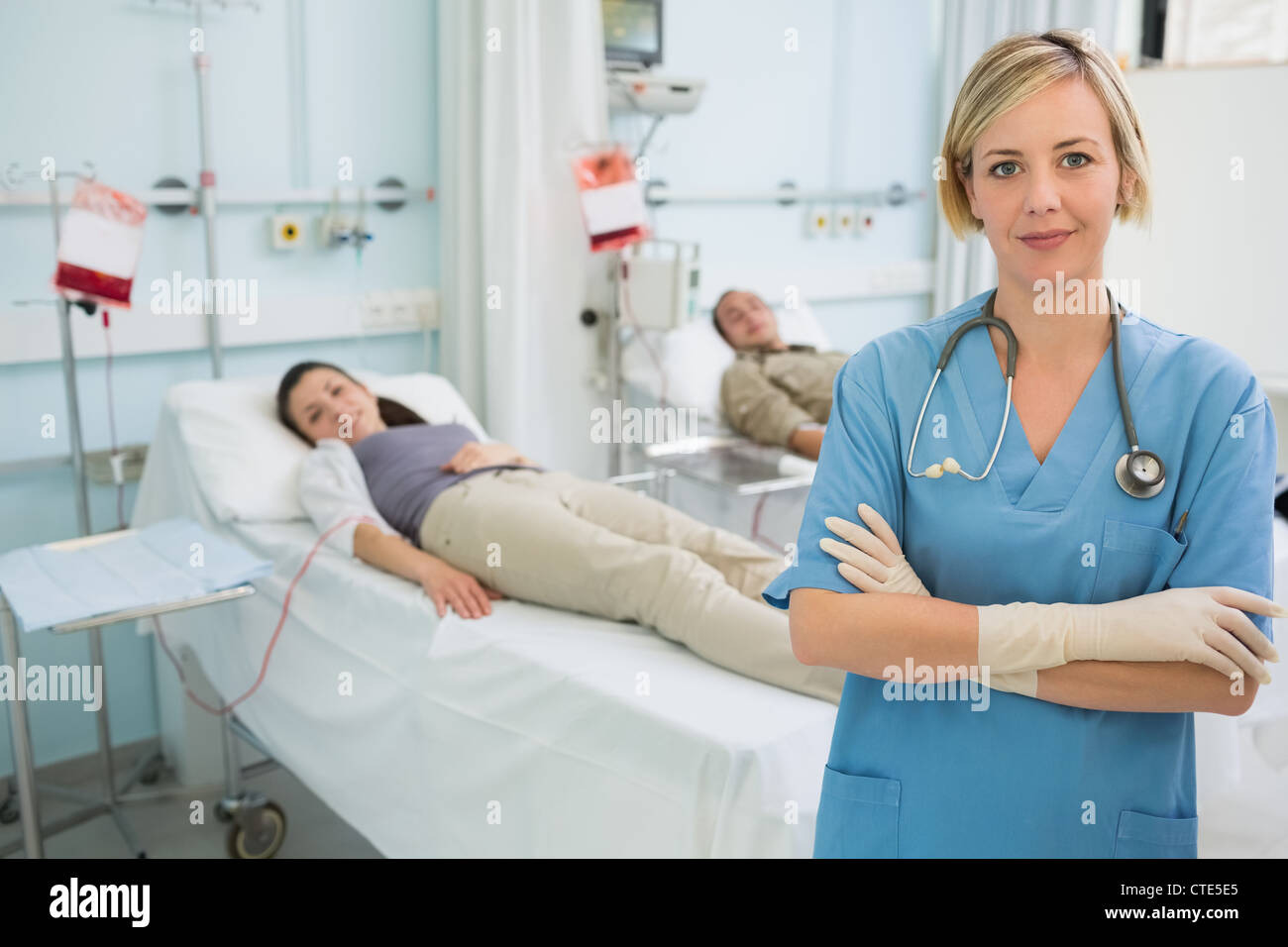 Nurse with arms crossed - Stock Image