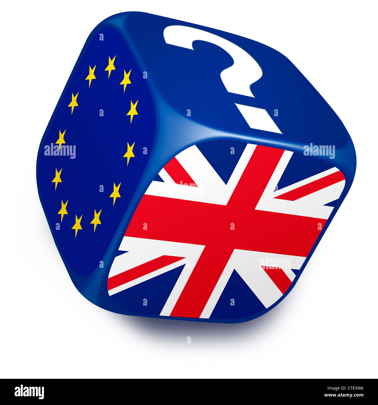 Dice with European Union Flag, UK flag and a question mark on it's sides - Stock Image