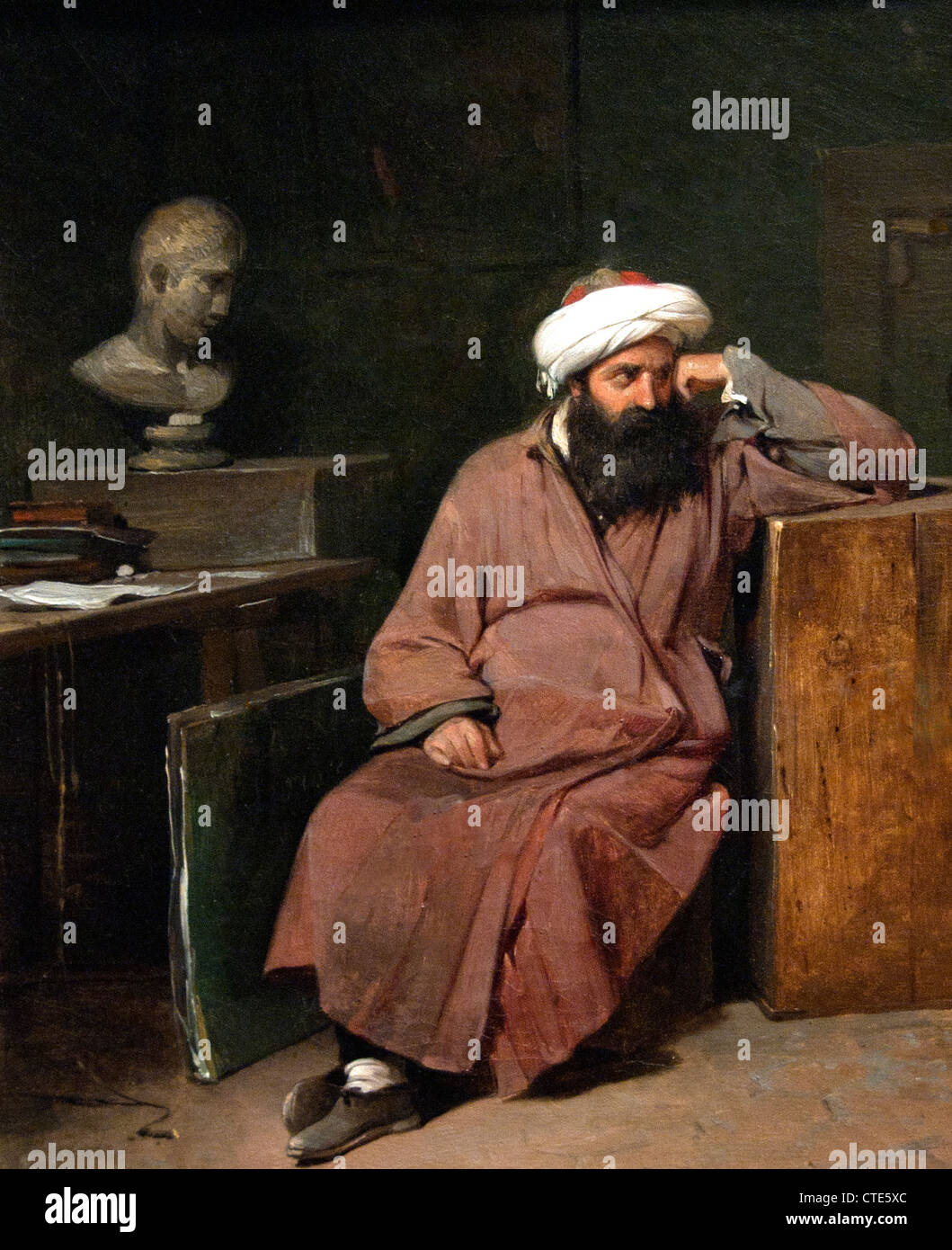 Man in Oriental Costume in the Artist's Studio Auguste Xavier Leprince 1799–1826 French France - Stock Image