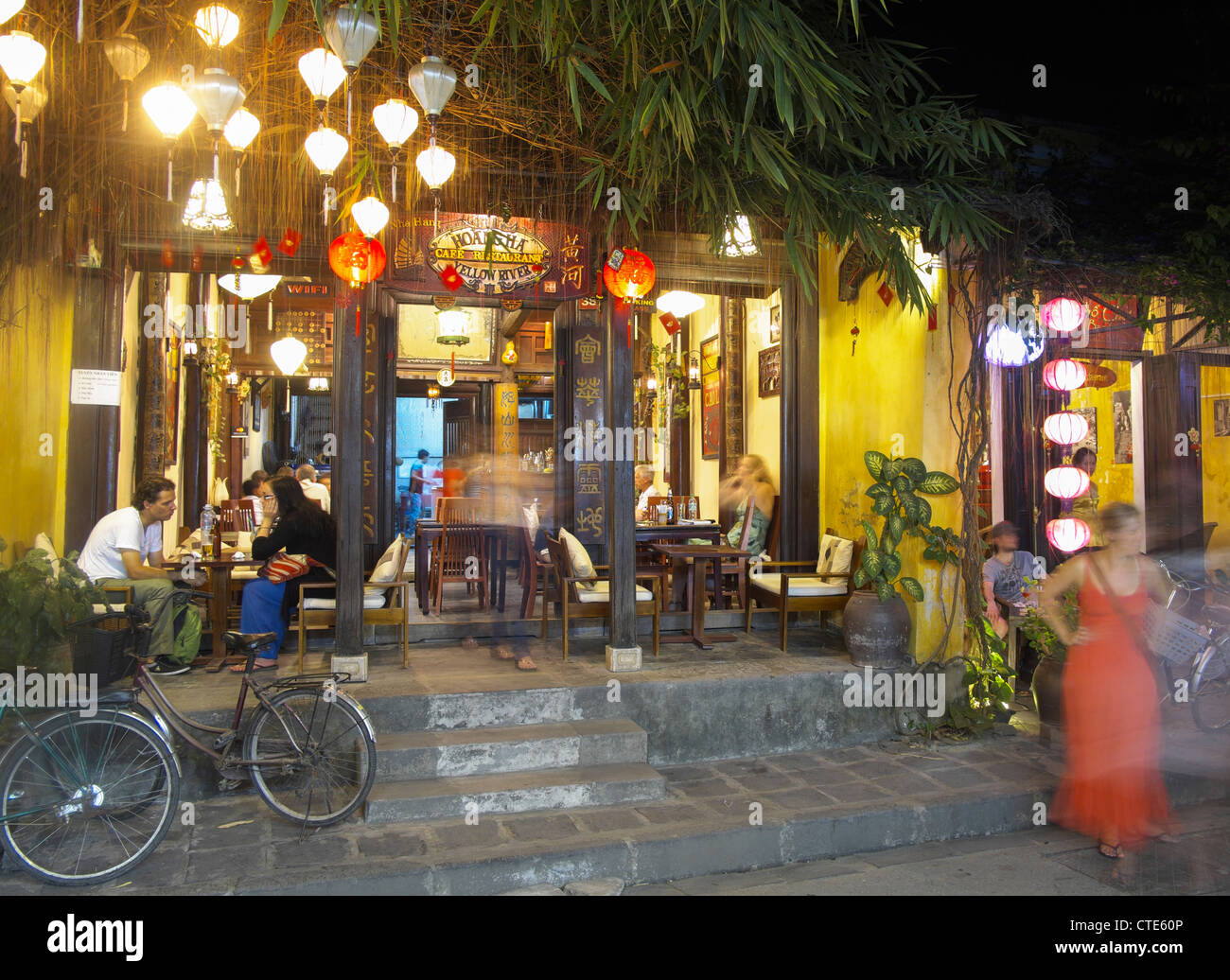 Evening view of bar in Hoian Vietnam - Stock Image