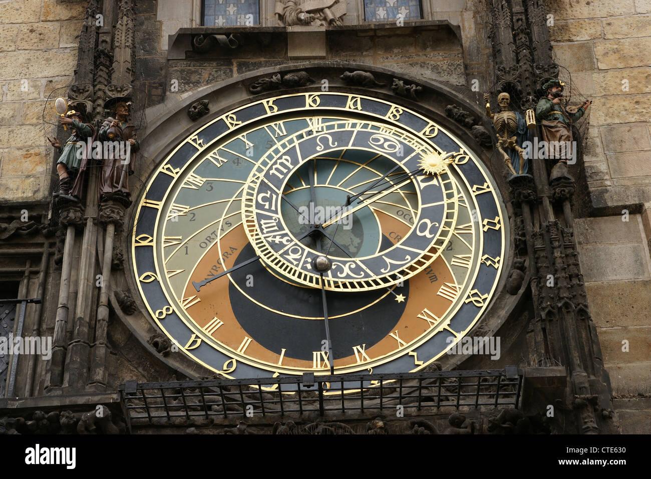 The Prague Astronomical Clock or Prague Orloj. Old Town City Hall. Astronomical dial. Czech Republic. - Stock Image