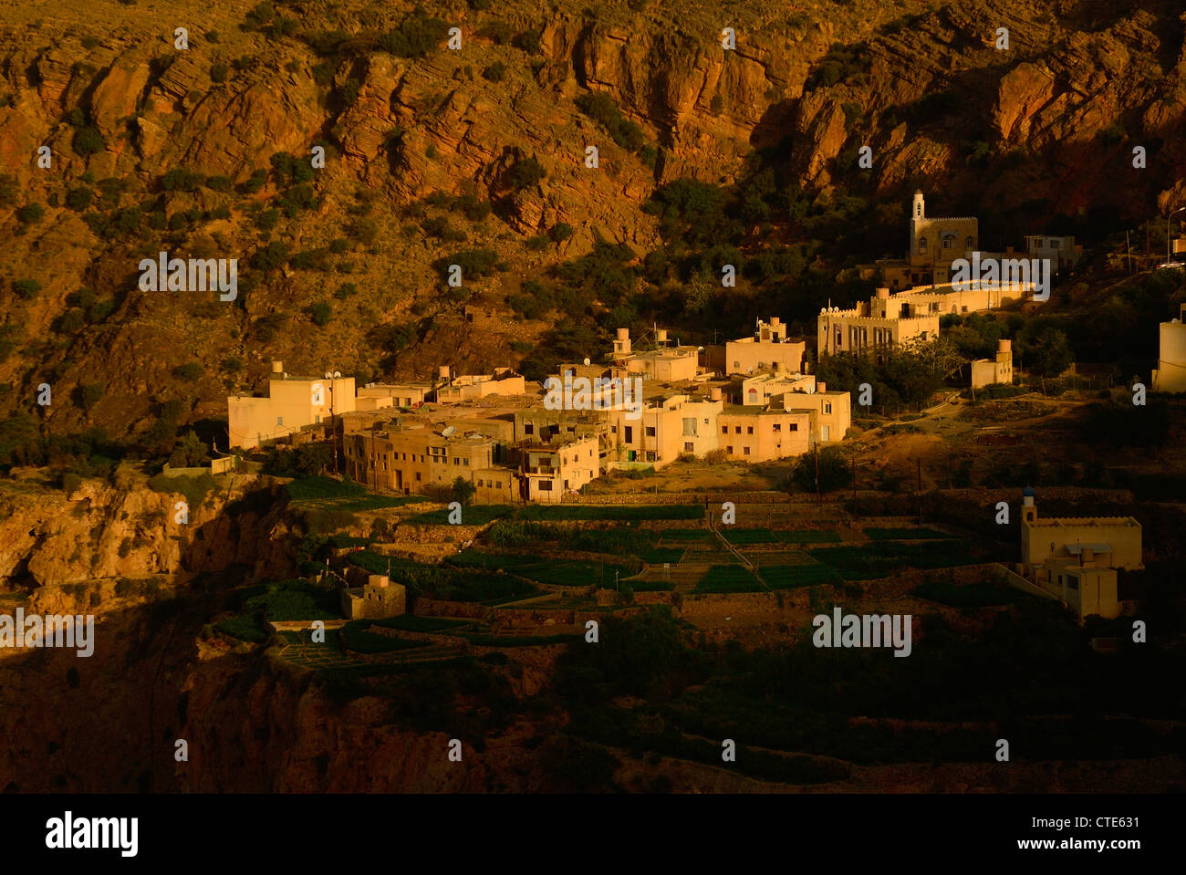 The village of Al Ayn, below the Sayq Plateau, Western Hajar Mountains, Oman - Stock Image