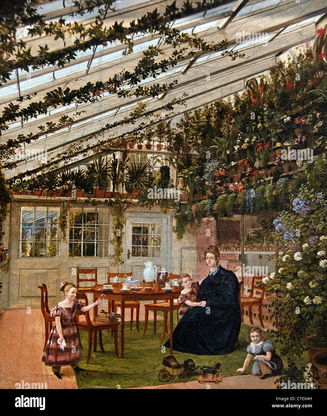 The Family of Mr. Westfal in the Conservatory 1836 by Eduard Gaertner German Berlin 1801–1877 Germany - Stock Image
