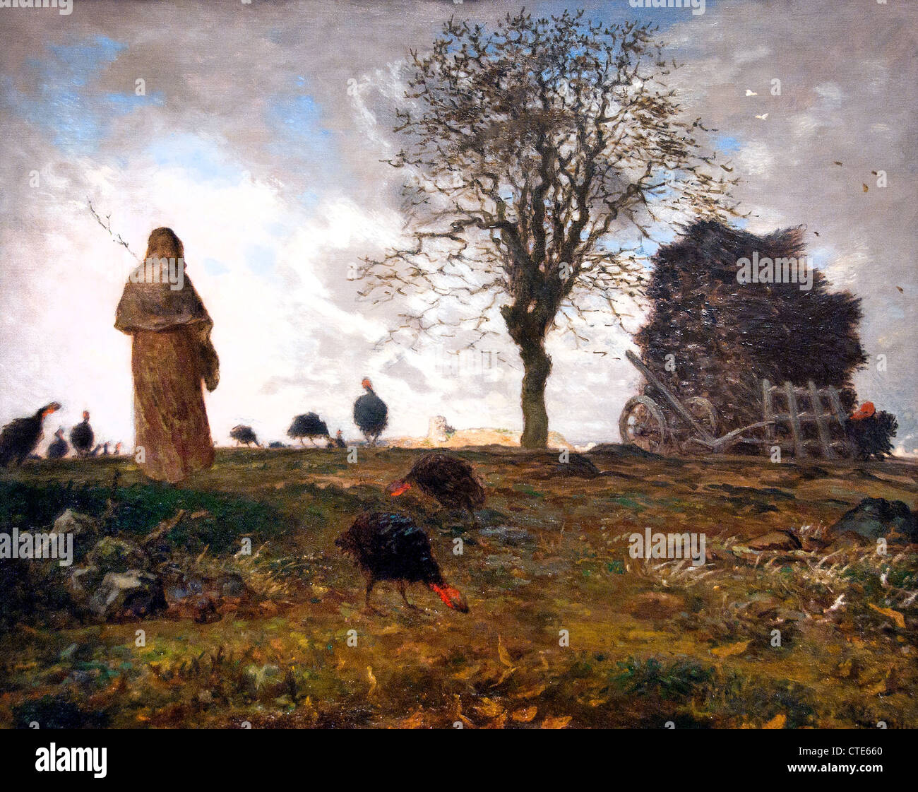 Autumn Landscape with a flock of Turkeys by Jean-François Millet 1814–1875 French France1872 - Stock Image