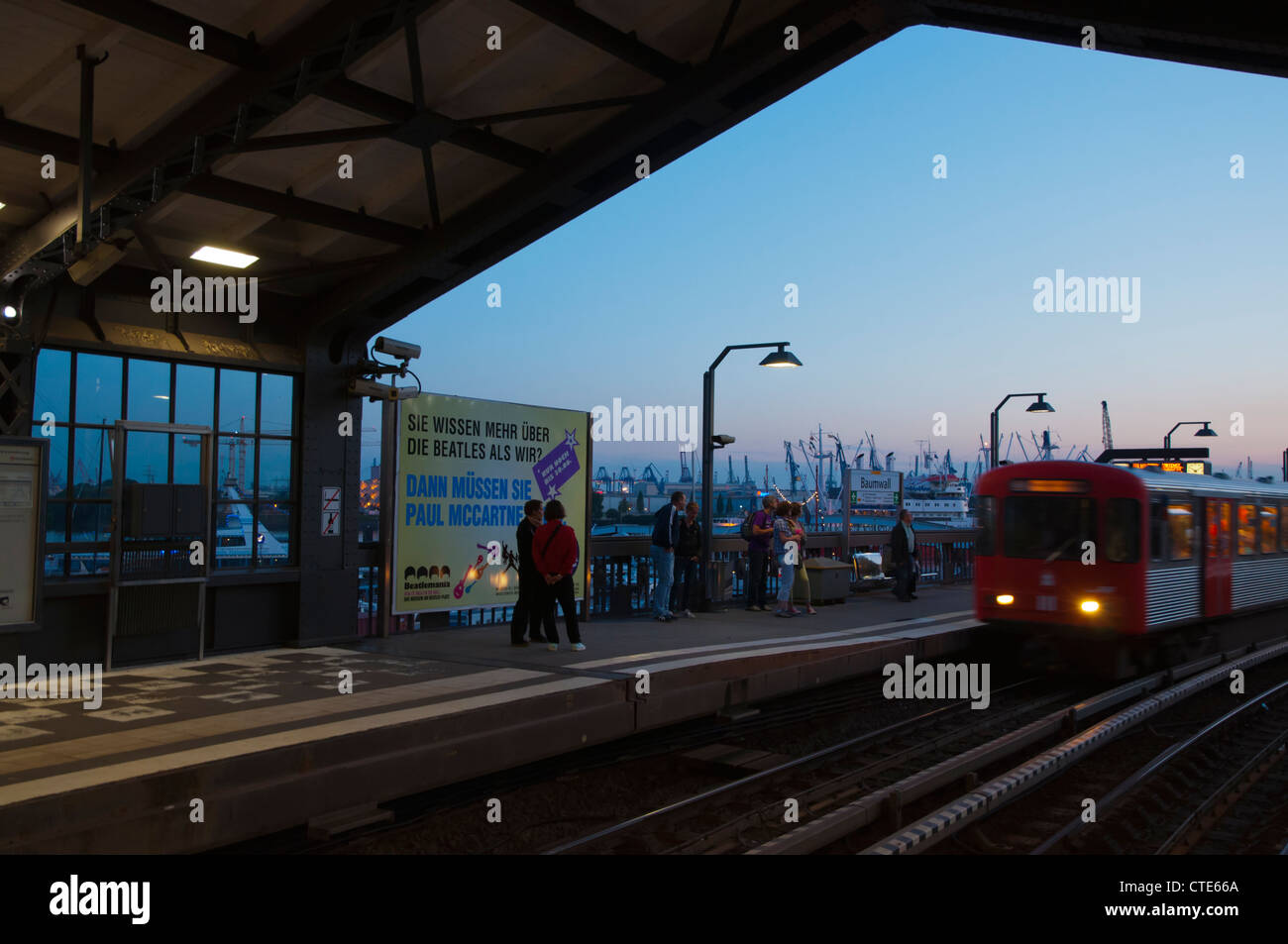 Metro train approaching Baumwall station Mitte central Hamburg Germany Europe Stock Photo
