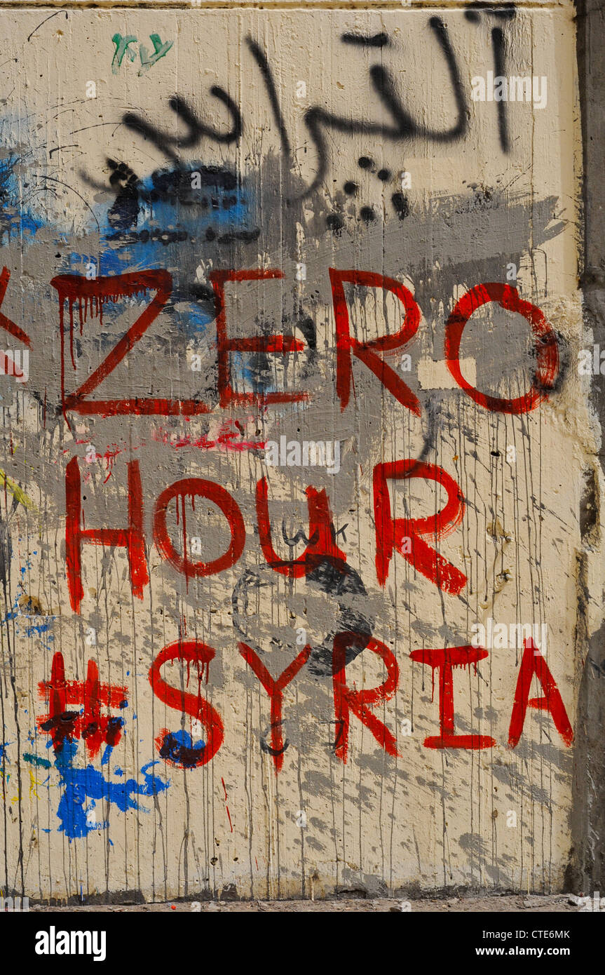 Twitter Hash Tag Zero Hour Syria on Mohammed Mahmoud street downtown Cairo - Stock Image