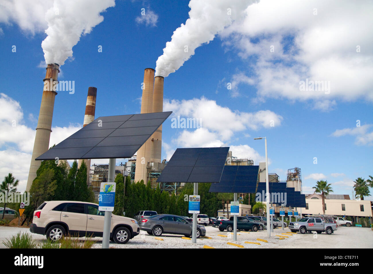Photovoltaic installation at the TECO Tampa Electric Big Bend Power Station located in Apollo Beach, Florida, USA. - Stock Image