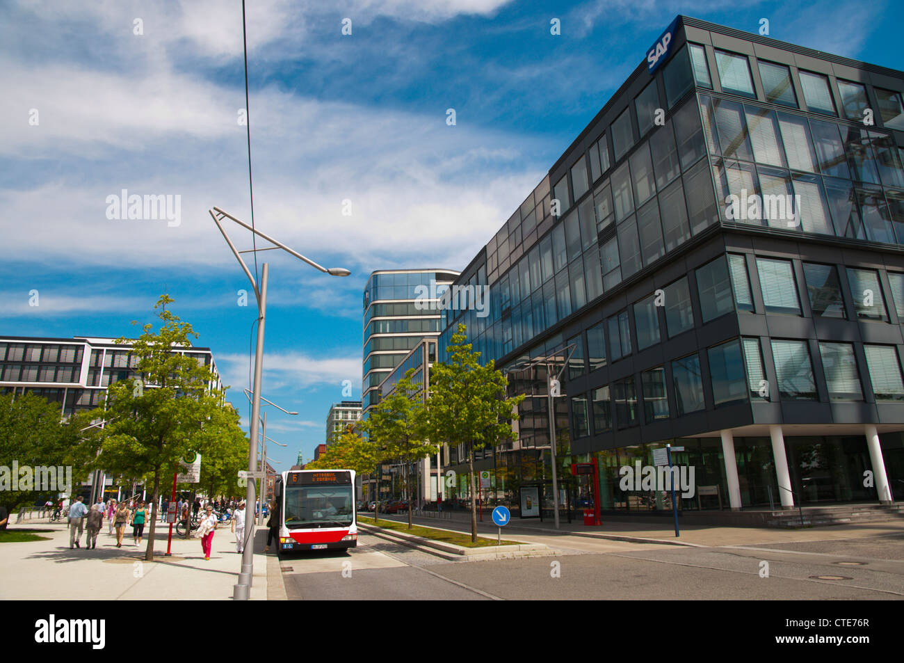 HafenCity former harbour area central Hamburg Germany Europe - Stock Image
