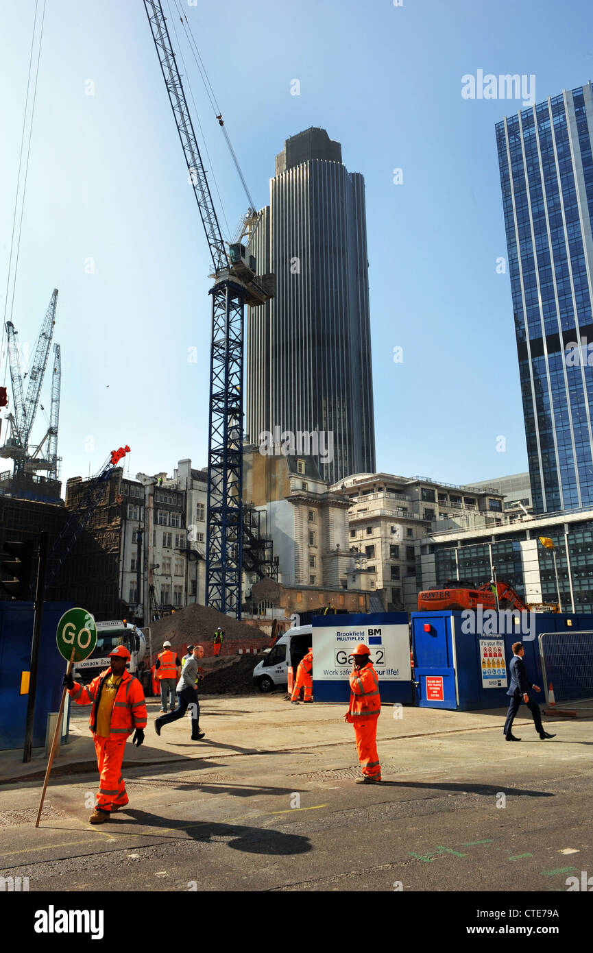 Building site, City of London, near the Gherkin. - Stock Image