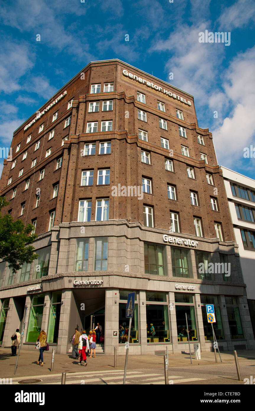 Former office building converted into Generator international chain hostel Sankt George district central Hamburg - Stock Image
