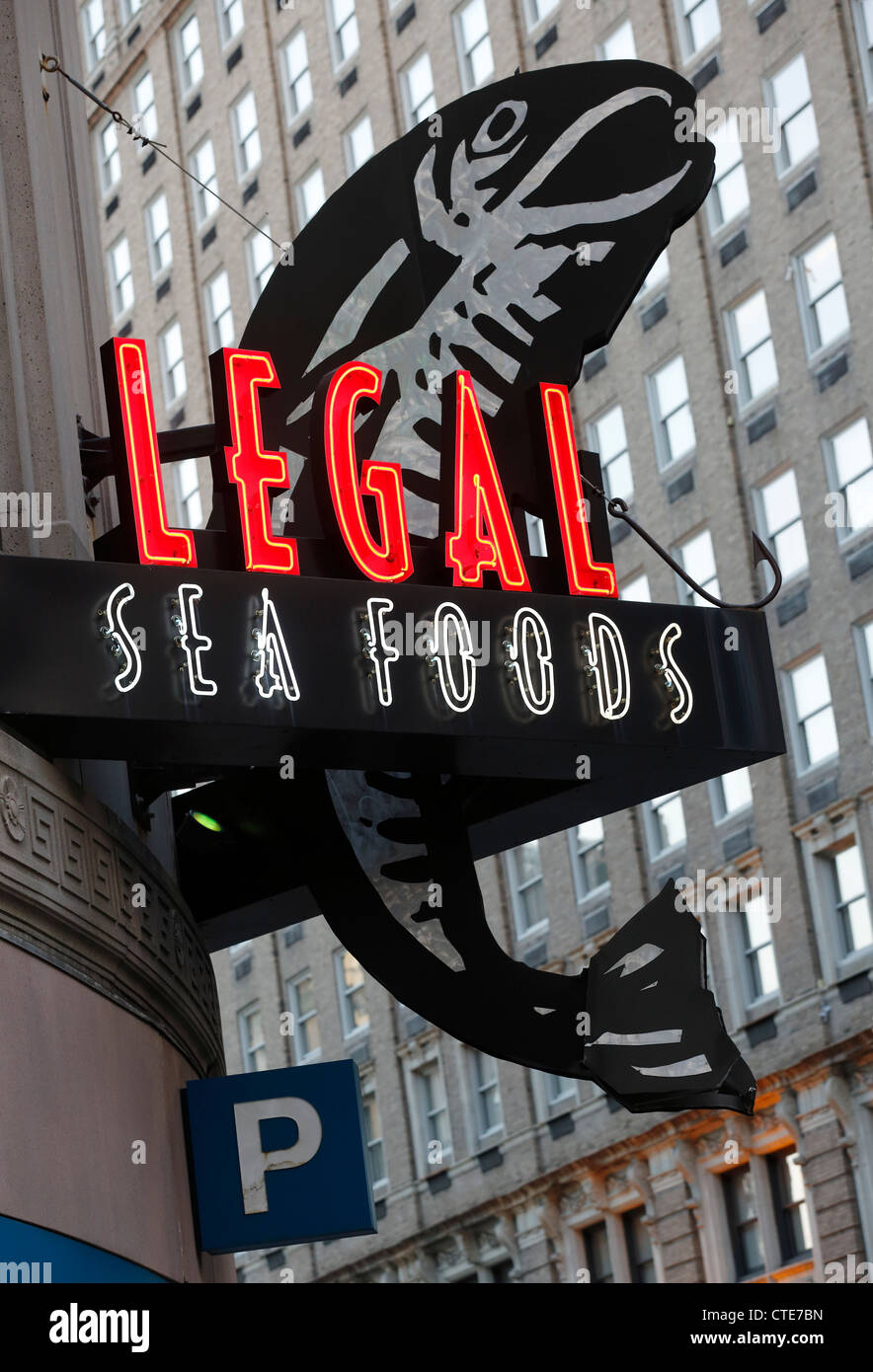 Legal Seafoods restaurant neon sign, Boston, Massachusetts - Stock Image