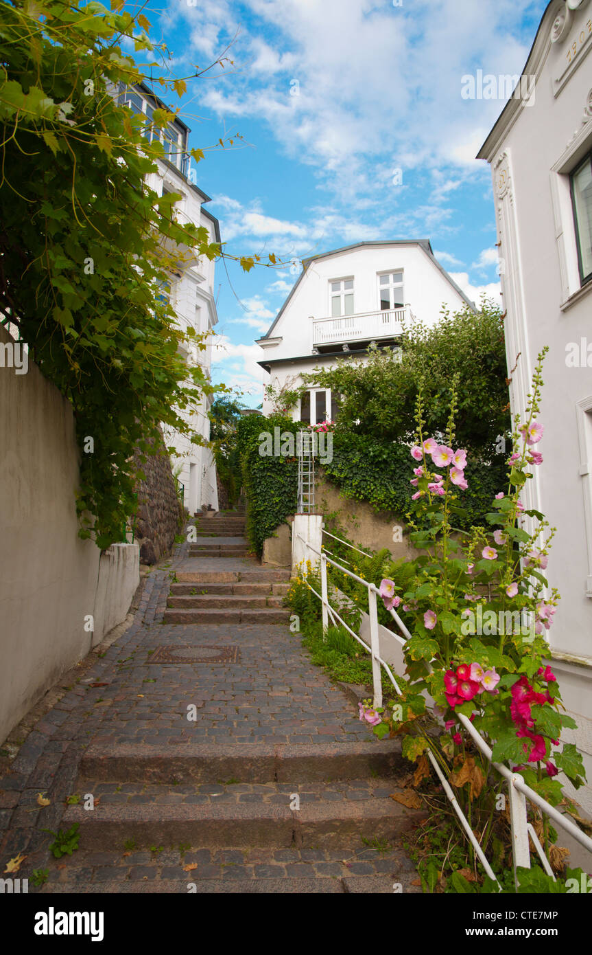 Trappenviertel district the network of 4864 stairs Blankenese district Hamburg Germany Europe - Stock Image