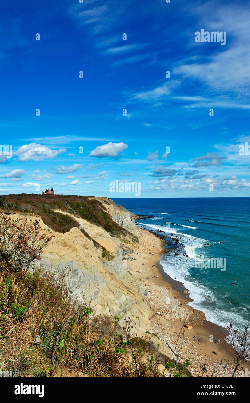 View of Mohegan Bluffs, and Southeast Lighthouse on Block Island, Rhode Island - Stock Image