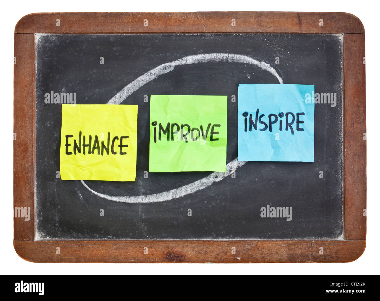 enhance, improve, inspire - motivation and inspiration concept - colorful sticky notes on a slate blackboard - Stock Image