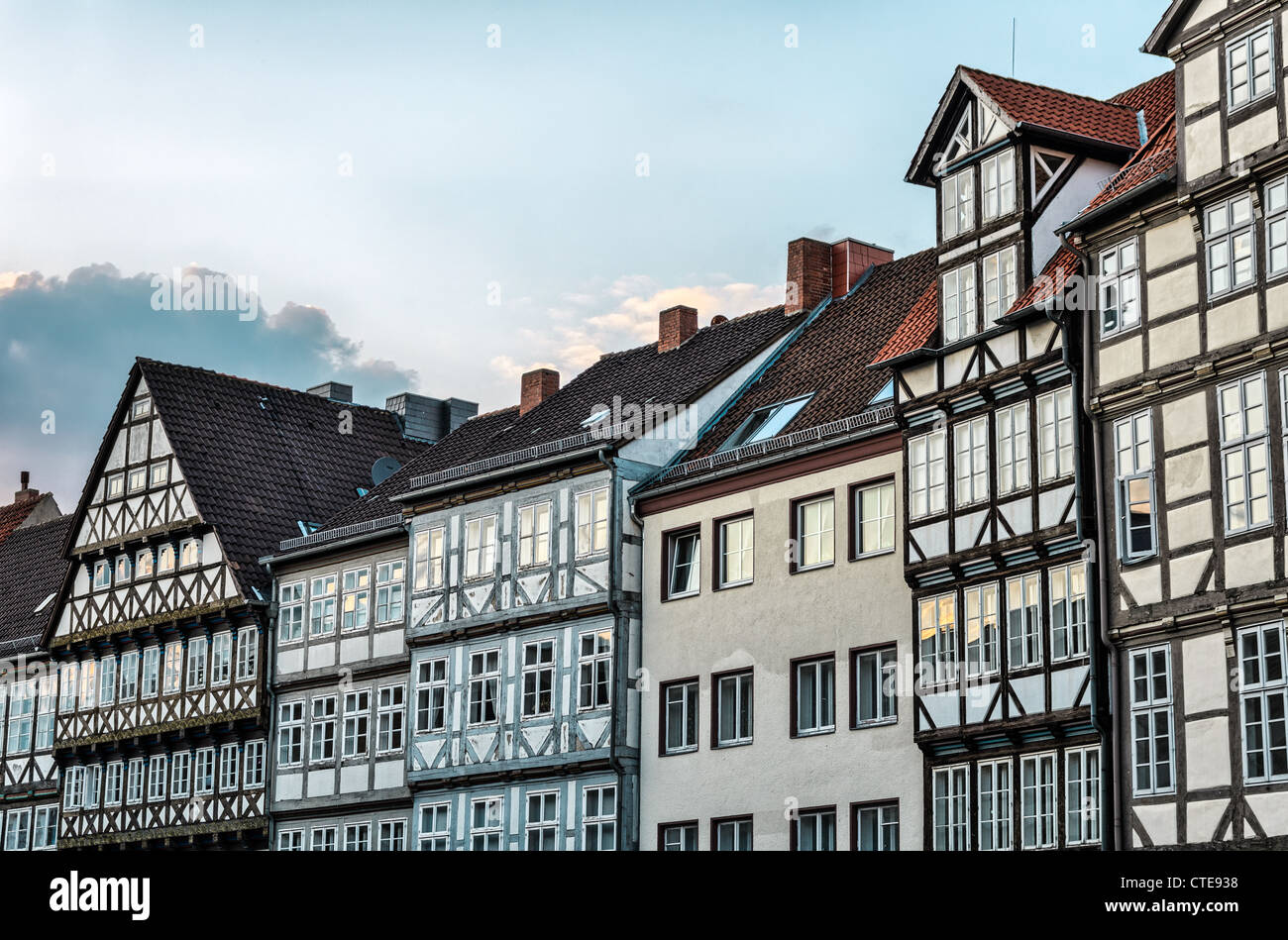 Fronts of typical half-timbered houses in the old town of Hannover, Germany - Stock Image