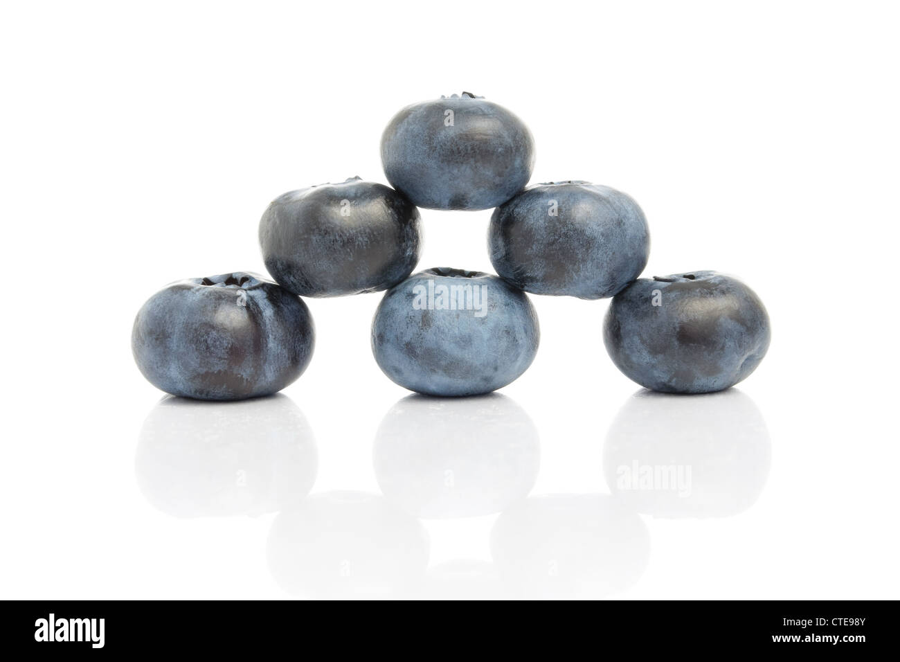 Blueberries with reflection isolated on white background Stock Photo