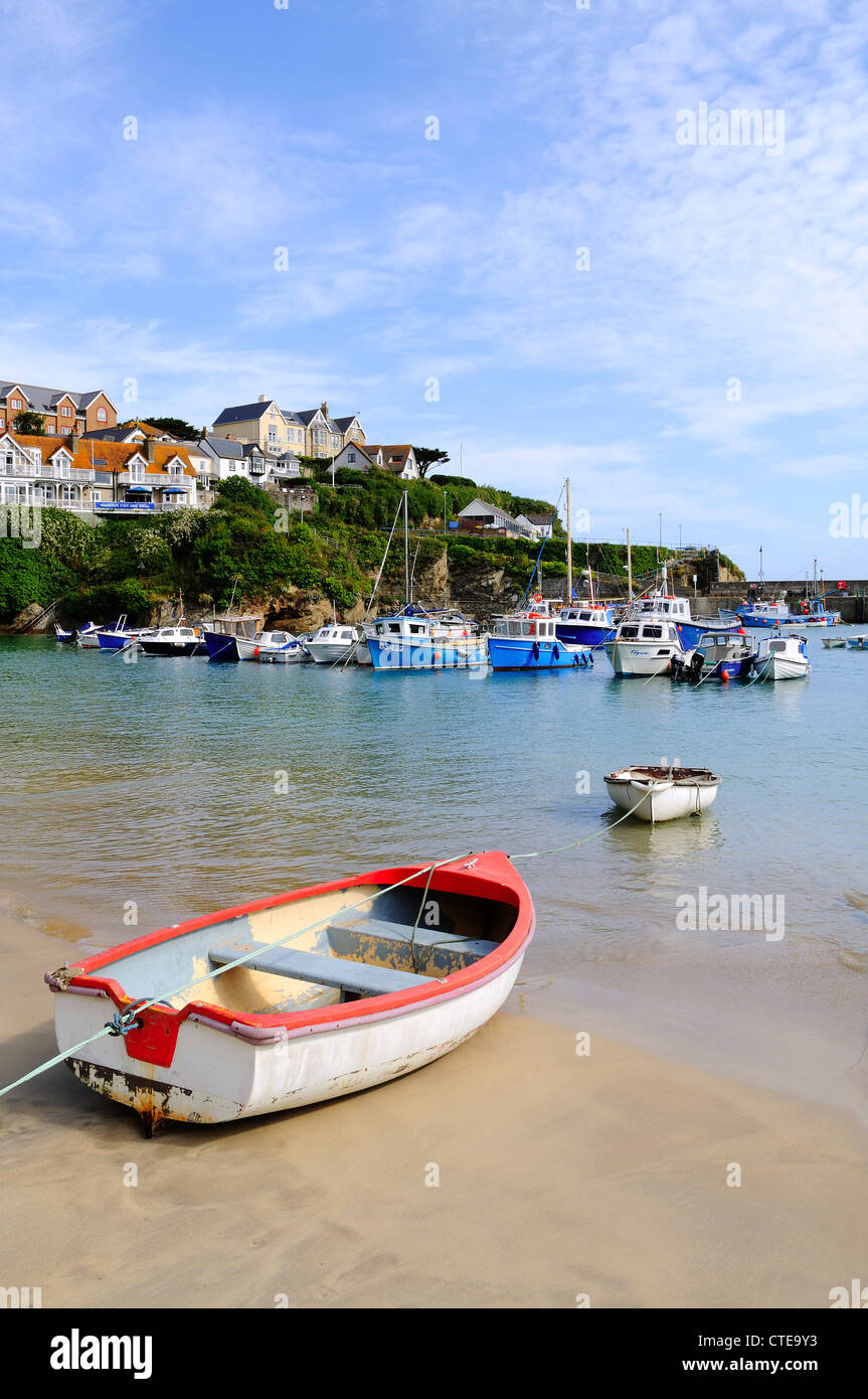 Boats in the harbour at newquay, cornwall, uk - Stock Image