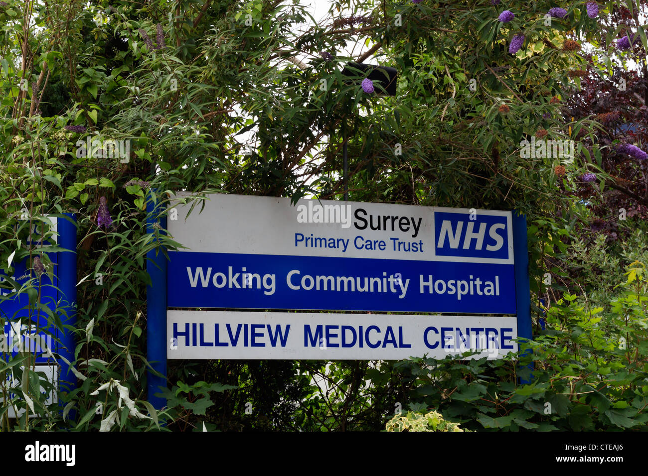 Woking Community Hospital Hillview medical centre sign - Stock Image