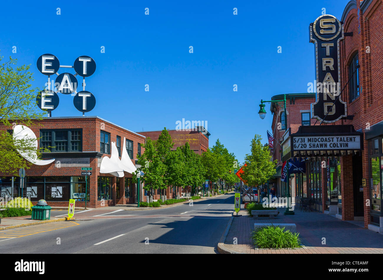 Strand Theater and shops on Main Street, Rockland, Knox County, Maine, USA - Stock Image
