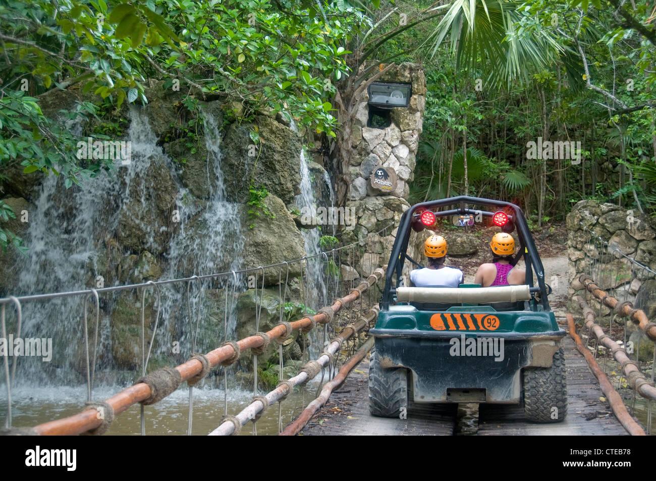 Xplor Park Visitors Enjoy The Wild ATV Rides Through Cenotes Caves And Caverns In Mexicos