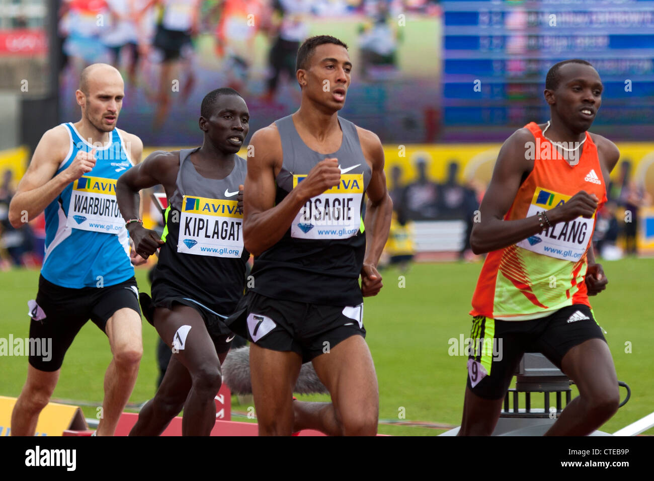 Andrew OSAGIE, Boaz Kiplagat LALANG & Richard KIPLAGAT, Mens 800m, Aviva London Grand Prix, Crystal Palace, - Stock Image