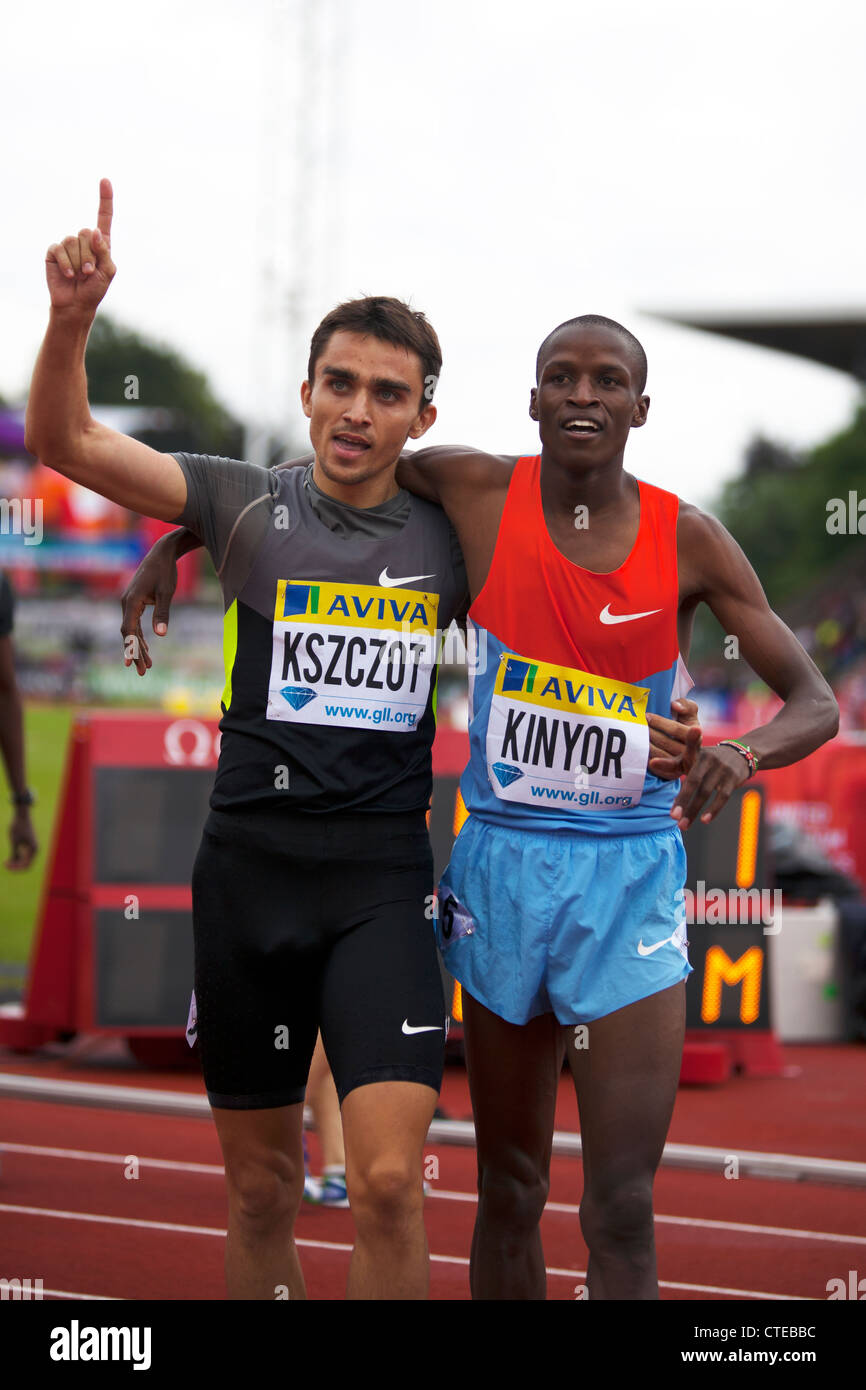 Adam KSZCZOT & Job KINYOR, Mens 800m, Aviva London Grand Prix, Crystal Palace, London 2012 - Stock Image