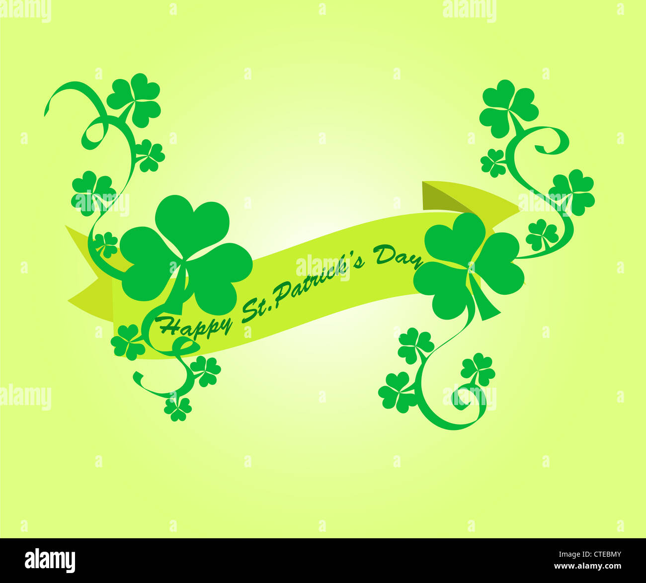 Green shamrocks banner with Happy St.Patric's Day wishes Stock Photo