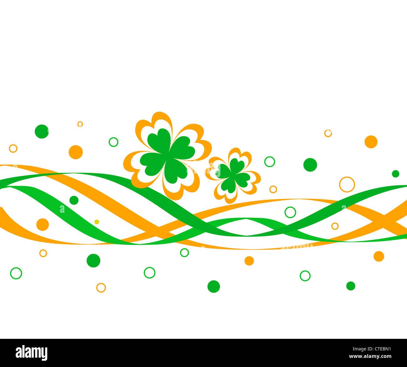 Irish flag colors clover design Stock Photo