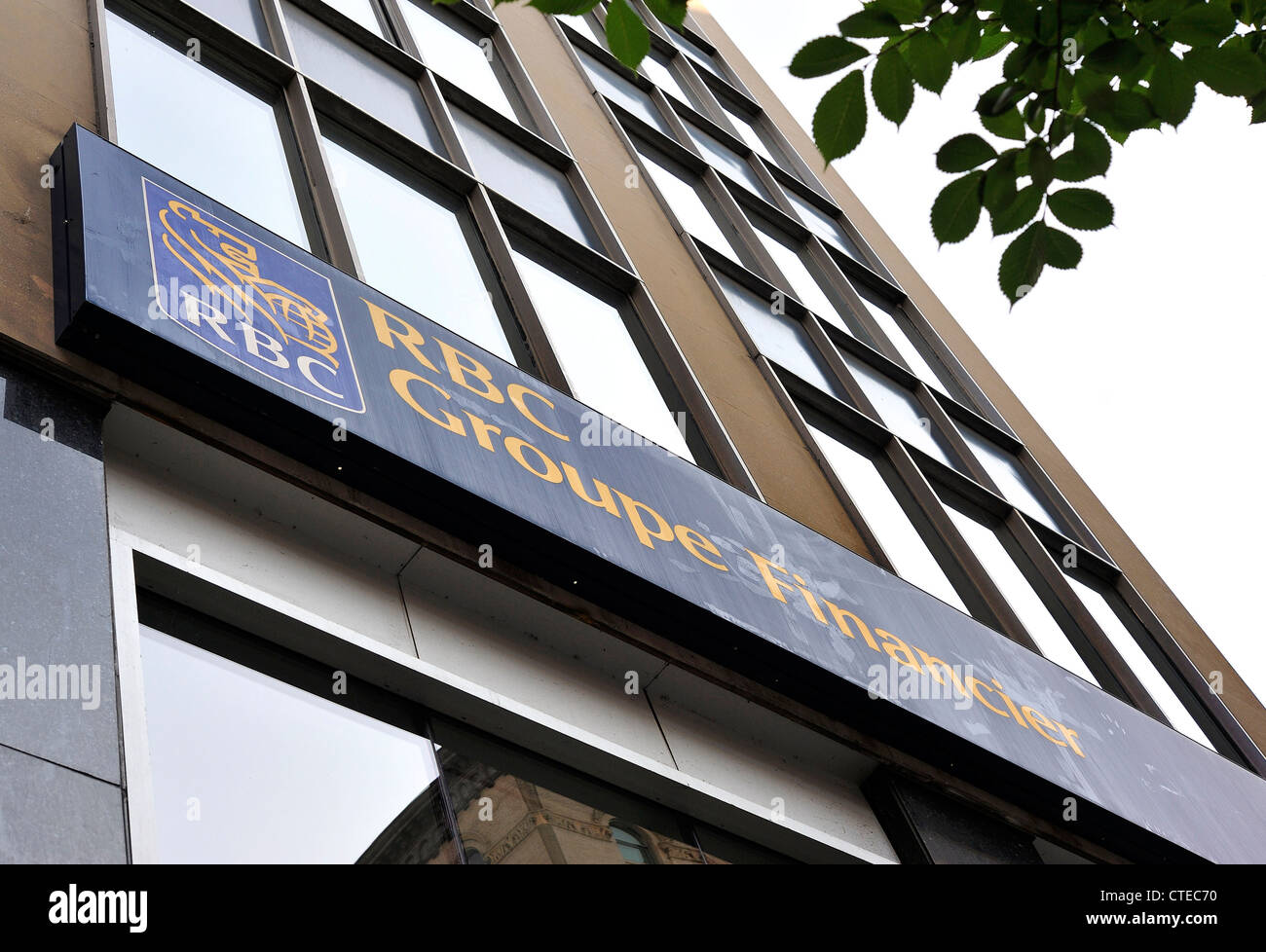 A RBC Royal Bank sign photographed in downtown Montreal. - Stock Image