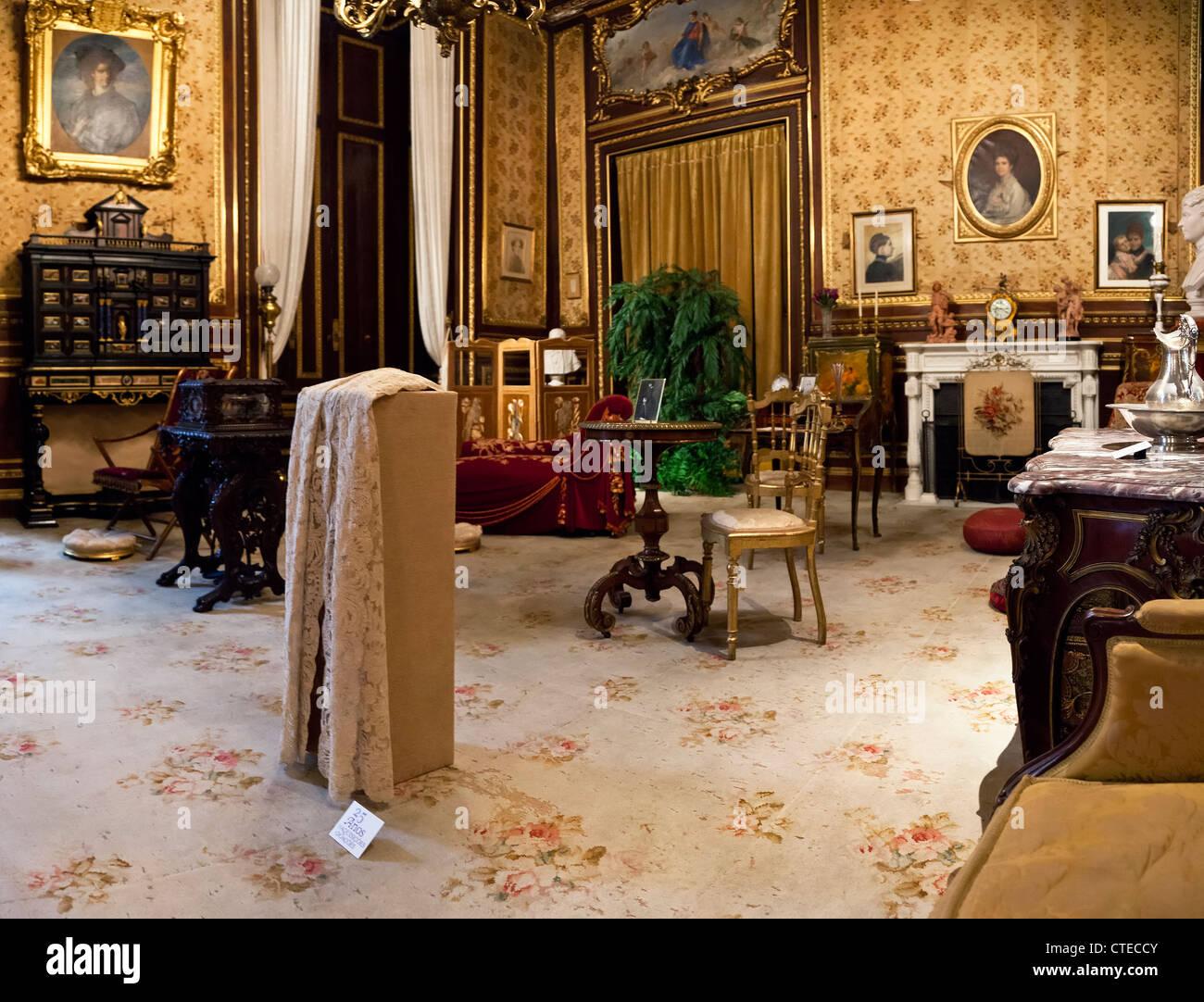 Toilette Room (Toucador da Rainha) - Ajuda National Palace, Lisbon, Portugal. 19th century neoclassical Royal palace. - Stock Image