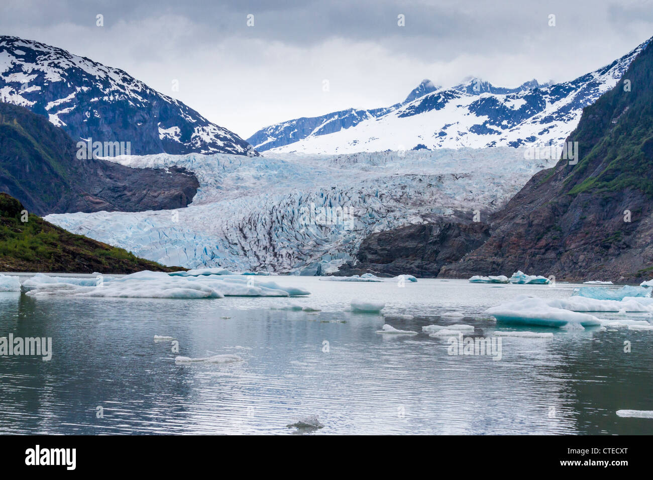 Mendenhall Glacier on cold overcast day in May - Stock Image