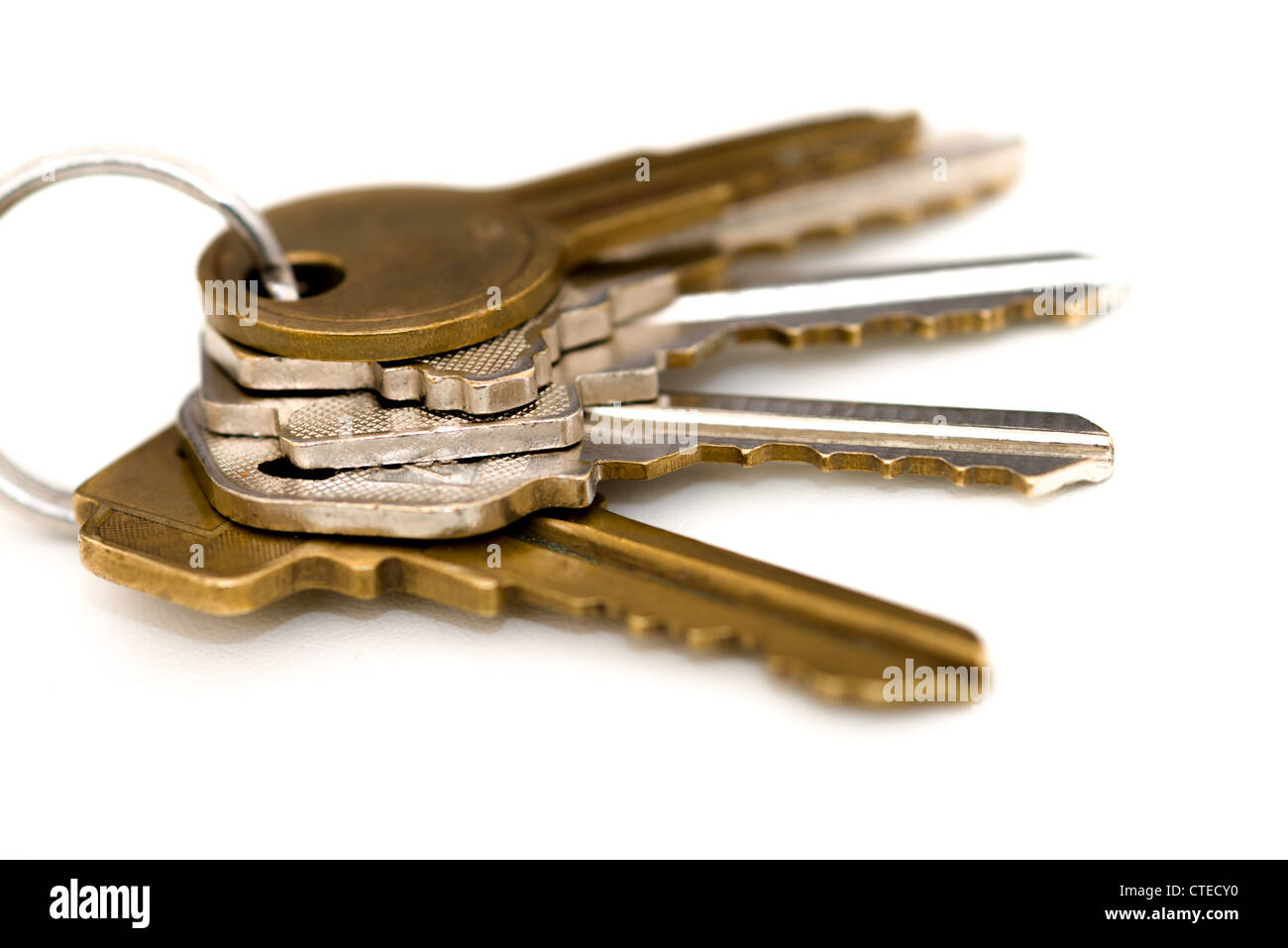 House keys cutout over white. Stock Photo