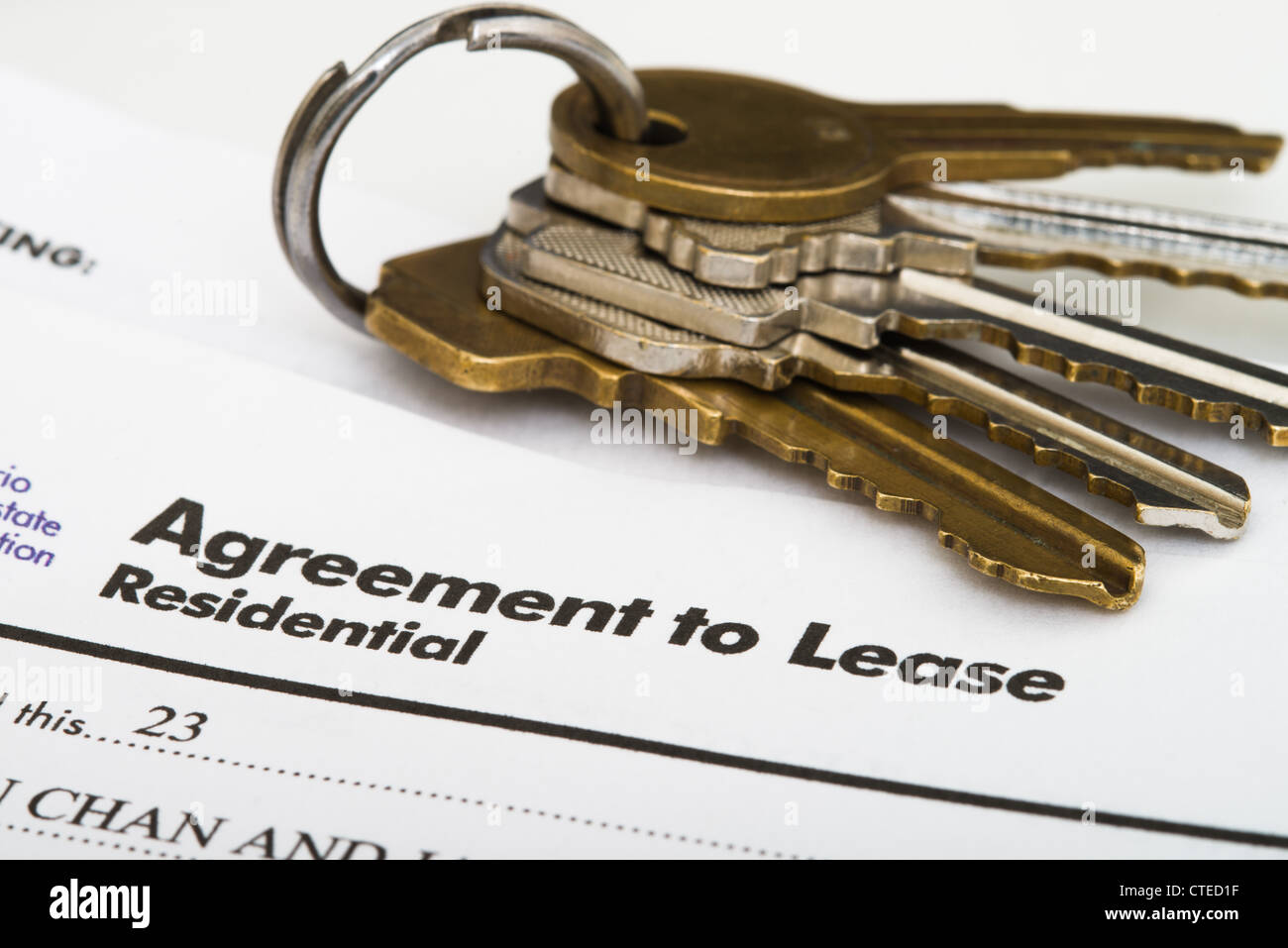 Keys and a lease agreement Stock Photo
