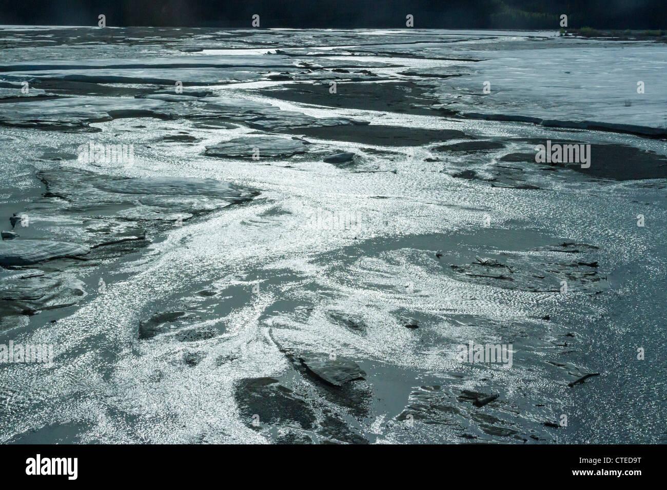 Still frozen braided Tenana river along the Alaska highway near Delta Junction, Alaska. - Stock Image