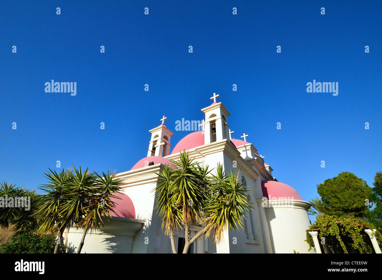 The Church of the Seven Apostles - Greek Orthodox church located at the shore of the Sea of Galilee near Capernaum, Stock Photo