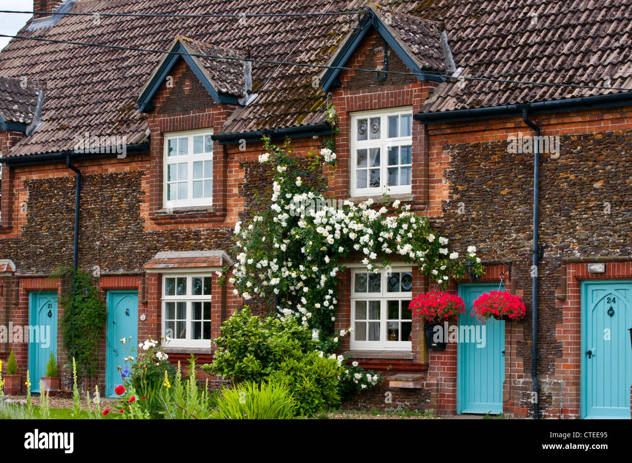 Country cottage Carrstone brickwork Wolferton - Stock Image