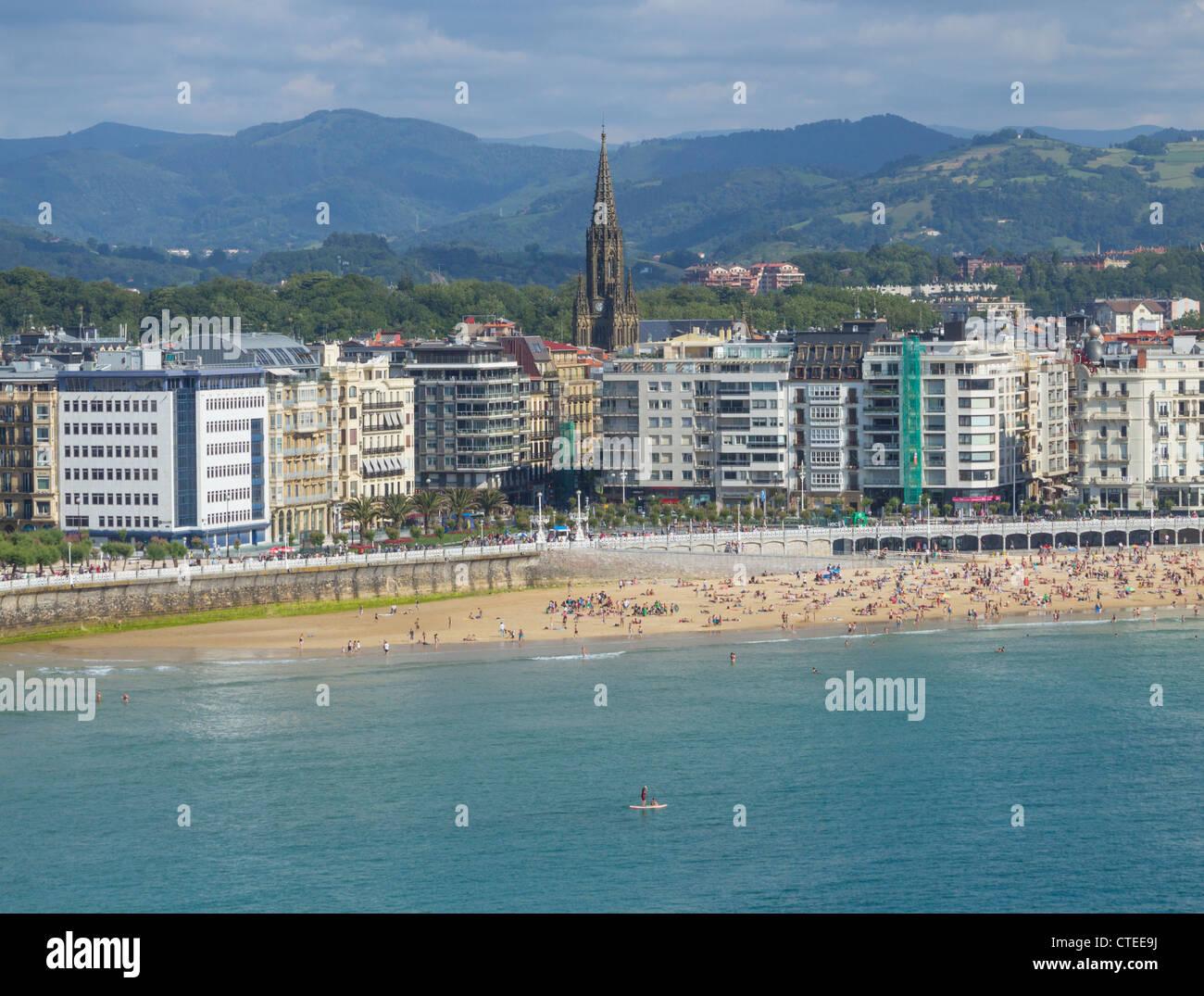 View over Concha beach. San Sebastian, Donostia, Basque Country, Spain - Stock Image