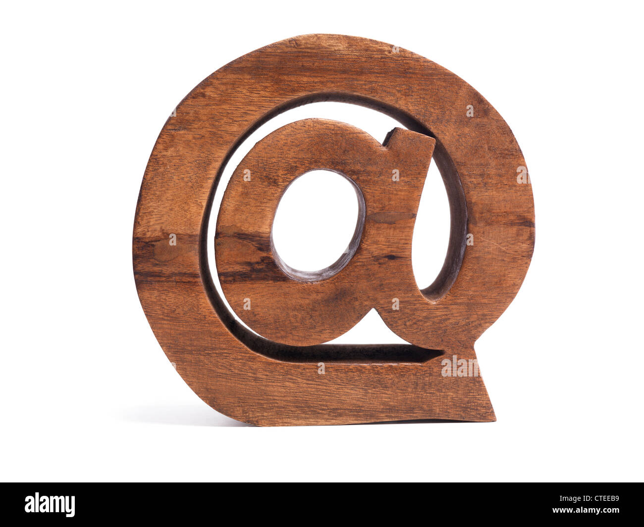 Email Symbol AT @ made of wood isolated on white background - Stock Image