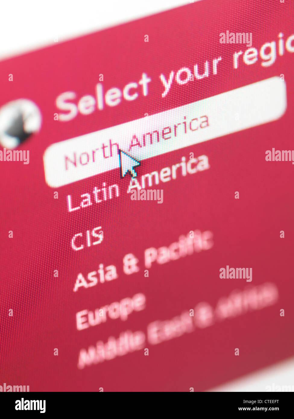 E-commerce web site region selection menu - Stock Image