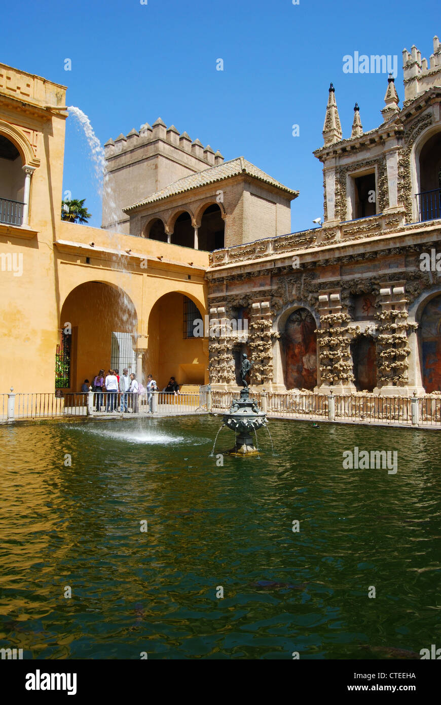Novelty fountain and pool in gardens within the Castle of the Kings (Alcazar), Seville, Andalucia, Spain, Western - Stock Image