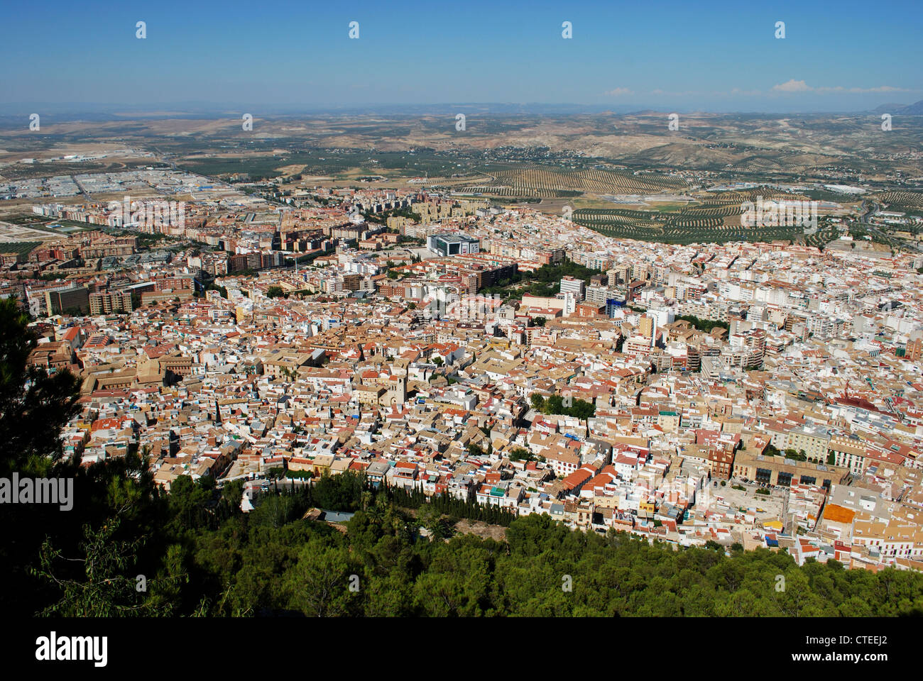 View over the city rooftops, Jaen, Jaen Province, Andalucia, Spain, Western Europe. - Stock Image