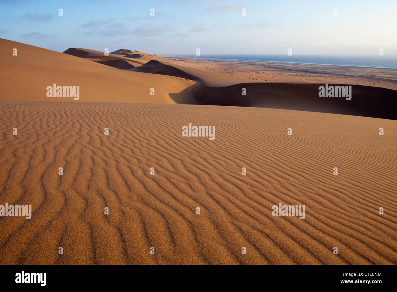 Sand Dunes of Namib Desert, Long Beach, Swakopmund, Namibia - Stock Image