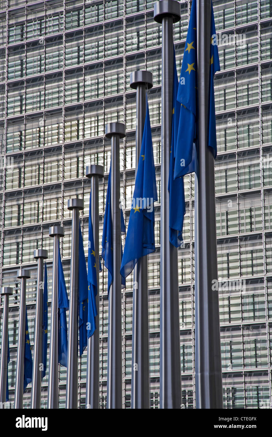 BRUSSELS - JUNE 24: European commission building and EU flags from Schumann square on June 24, 2012 in Brussels. - Stock Image