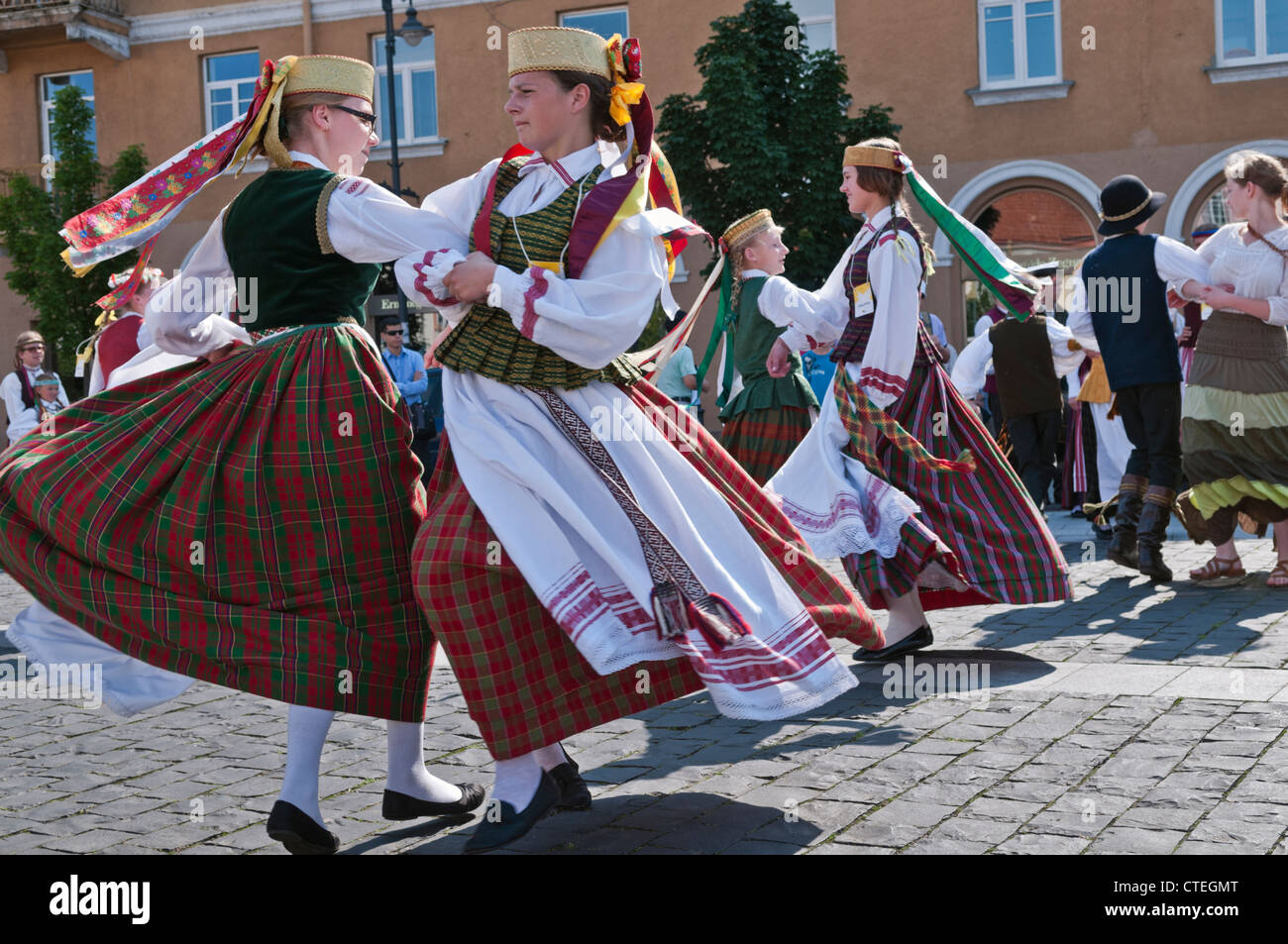 Traditional folk dancing Vilnius Lithuania - Stock Image