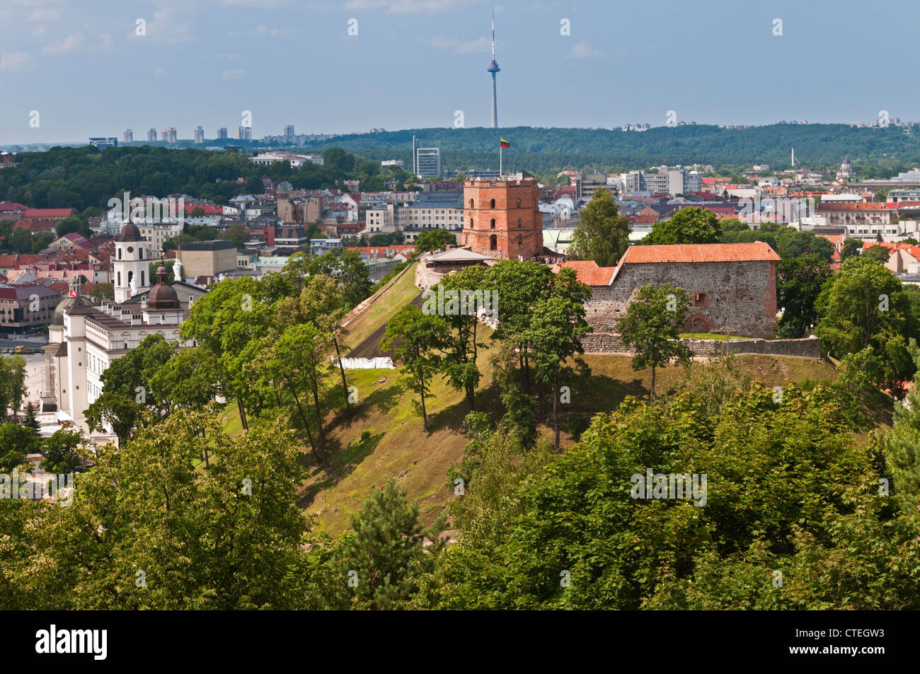 City view to Upper Castle Gediminas Hill with TV Tower in the distance Vilnius Lithuania Stock Photo