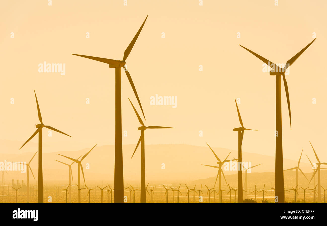 USA, California, Palm Springs, Wind turbine against sunset sky - Stock Image