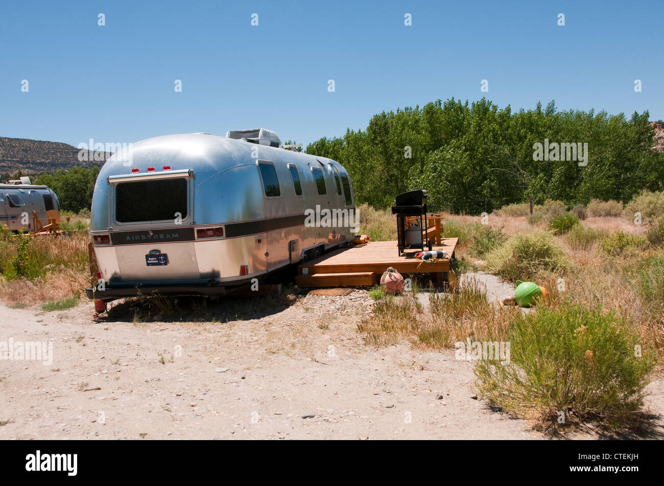 USA, Utah, classic Airstream travel trailers available as lodging at the Shooting Star Drive-In in Escalante. - Stock Image